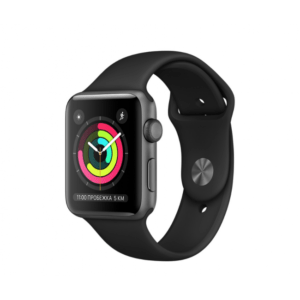 Apple WATCH Series 3, 42mm Space Grey Aluminium Case with Black Sport Band (MQL12) - ТвойGadget