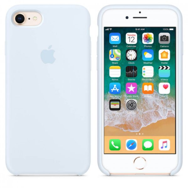 Чехол iPhone 8/7 Silicone Case Sky Blue - ТвойGadget
