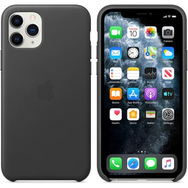 Чехол кожаный оригинальный iPhone 11 Pro Leather Case – Black (MWYE2) - ТвойGadget