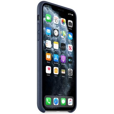 Чехол кожаный оригинальный iPhone 11 Pro Leather Case – Midnight Blue (MWYG2) - ТвойGadget