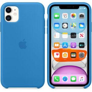 Чехол силиконовый оригинальный iPhone 11 Silicone Case – Surf Blue (MXYY2) - ТвойGadget