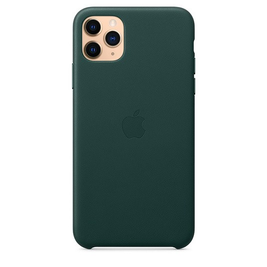 Чехол кожаный оригинальный iPhone 11 Pro Max Leather Case — Forest Green (MX0C2) - ТвойGadget