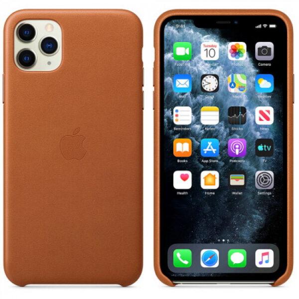 Чехол кожаный оригинальный iPhone 11 Pro Max Leather Case – Saddle Brown (MX0D2) - ТвойGadget