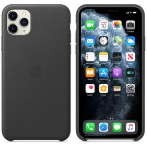 Чехол кожаный оригинальный iPhone 11 Pro Max Leather Case — Black (MX0E2) - ТвойGadget