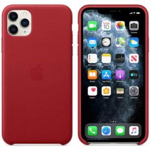 Чехол кожаный оригинальный iPhone 11 Pro Max Leather Case — PRODUCT RED (MX0F2) - ТвойGadget