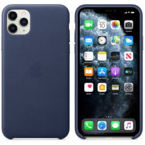 Чехол кожаный оригинальный iPhone 11 Pro Max Leather Case — Midnight Blue (MX0G2) - ТвойGadget