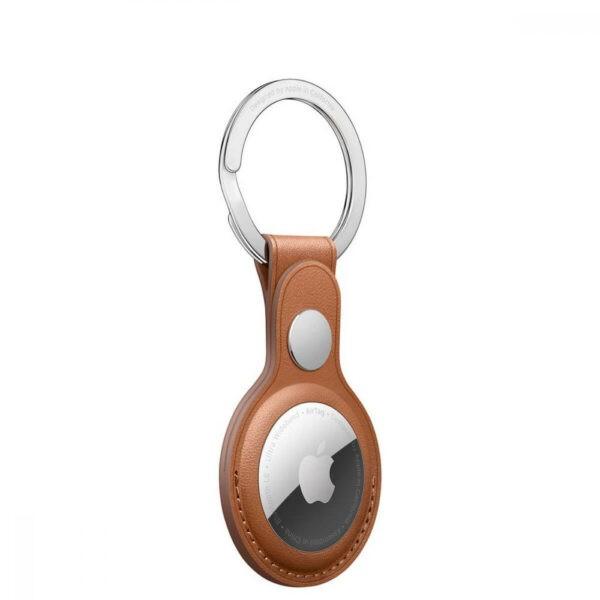 Apple AirTag Leather Key Ring Saddle Brown (MX4M2) - ТвойGadget