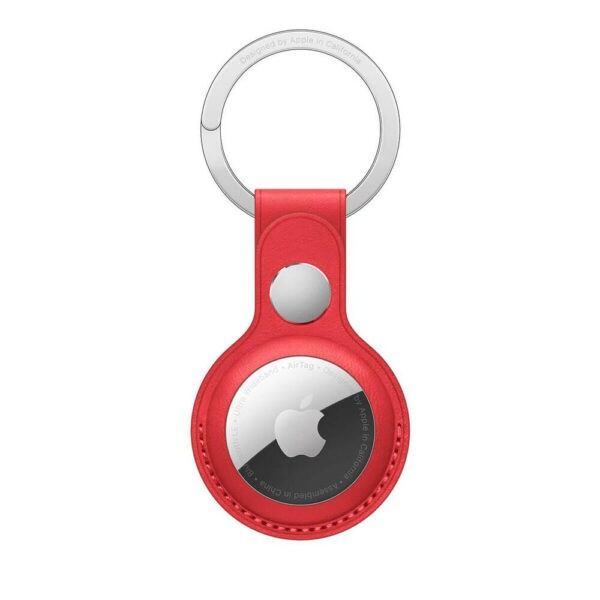 Apple AirTag Leather Key Ring Red (MK103) - ТвойGadget